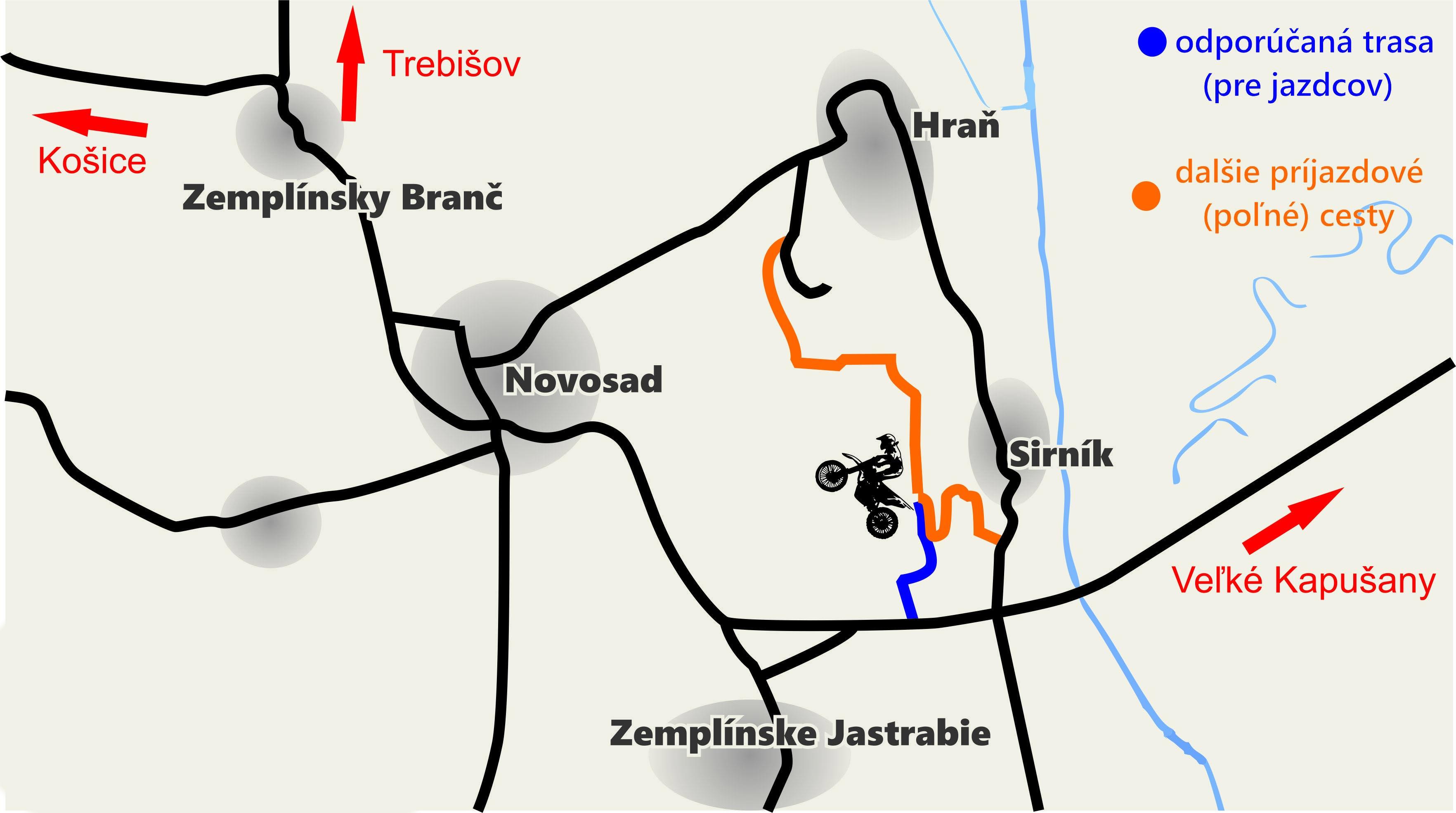 mapa prijazdovych ciest